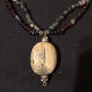 Jewelry - 3/$15 Stone pendant and beads necklace!